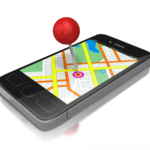 cell phone with image of map